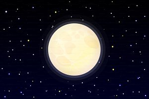 ♥ vector full moon on starry sky