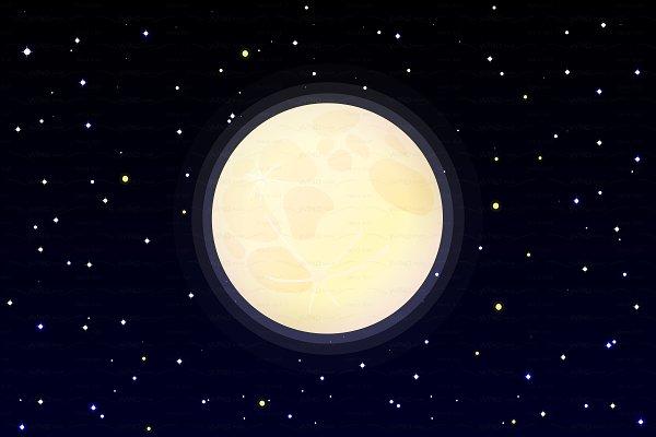 ♥ vector full moon on starry sky