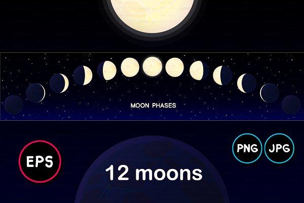 ♥ vector horizontal moon timelapse