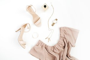 Beige female clothes and accessories