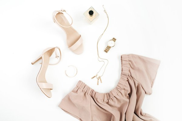 Beige female clothes and accessorie…