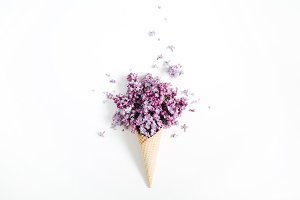 Waffle cone with lilac bouquet