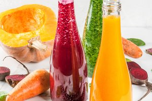Colorful vegetable smoothies