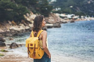 Girl with yellow backpack