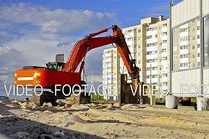 Crawler excavator hammer steel piles construction