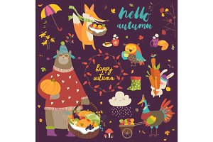 Set of cute autumn cartoon characters, plants and food
