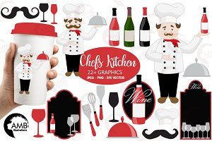 Chef and Kitchen Clipart AMB-914