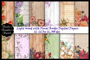 Wood w/Floral Borders Papers