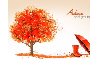 Autumn background with tree. Vector