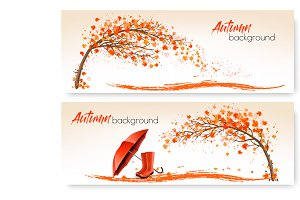 Autumn banners with trees. Vector