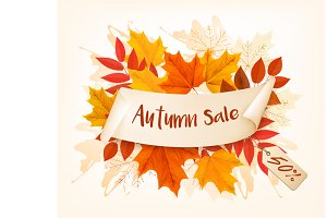 Autumn Sales Card. Vector