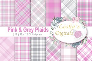 Plaid Backgrounds - Pink & Gray