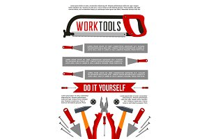Vector poster of work tools or construction repair