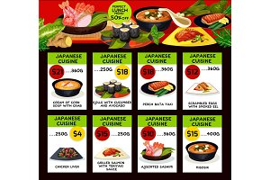 Vector price menu for Japanese cuisine restaurant