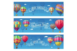 Vector banners for hot air balloon travel voyage