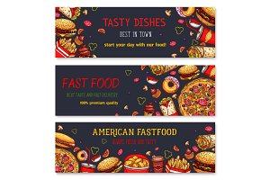 Vector banners for fast food restaurant