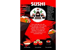Vector poster Japanese restaurant or sushi menu