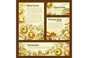 Vector posters templates set of Italian pasta