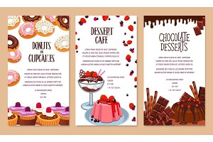 Vector poster template for bakery shop desserts