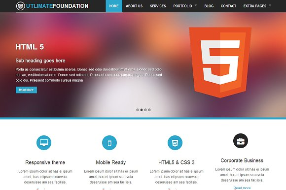 Foundation 4 Business Theme 5 In 1 Website Templates Creative Market