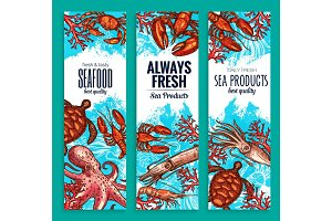 Seafood restaurant sea food banners vector set