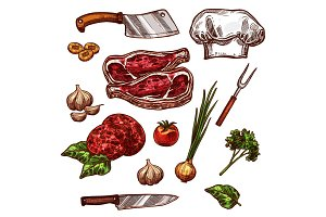Vector icons of butchery meat and seasonings