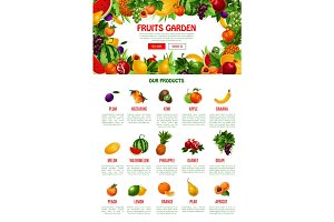 Vector poster template of fruit shop or market