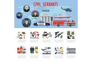 Vector poster civil servants judge police aviation