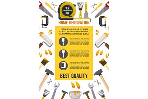 Vector poster house renovation repair work tools