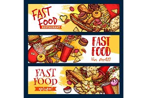 Fast food restaurant menu vector banners