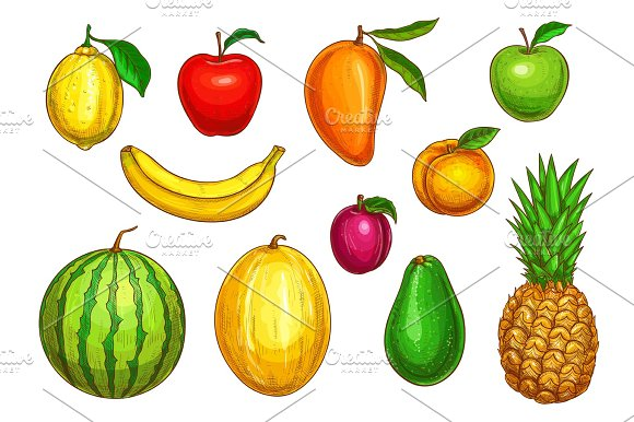 Vector Isolated Icons Of Tropical Exotic Fruits