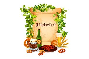 Oktoberfest vector poster of beer snacks