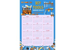 Vector calendar 2018 house renovation work tools