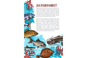 Vector poster of fish catch for sea food maket