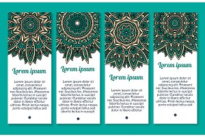 Vector banners floral Paisley or Mandala pattern