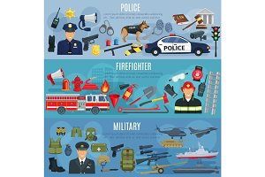 Vector banners firefighter, military and police