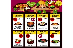 Vector menu for Japanese cuisine restaurant