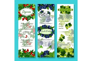 Vector banners of fresh berries for berry shop
