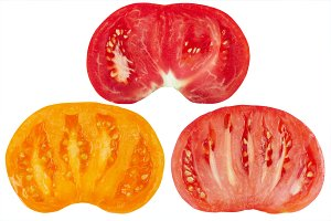 Three color ripe cut tomatoes