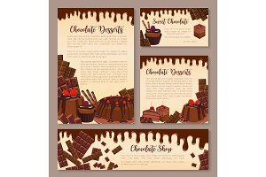 Vector poster for chocolate desserts bakery