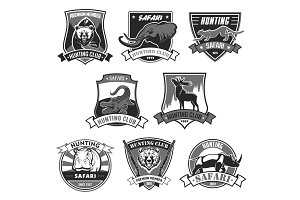 Hunting club safari hunt open season vector icons