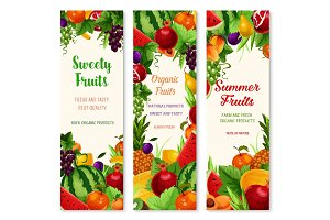 Vector banners set of fresh summer fruits