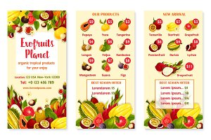 Vector price menu for exotic fresh tropical fruits