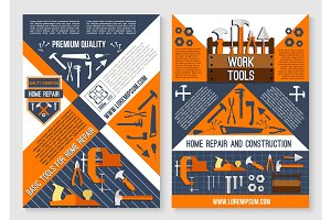 Vector posters of work tools for house repair