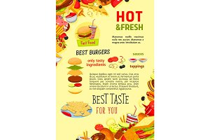 Fast food restaurant burgers meals vector poster