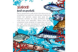 Vector poster for seafood or fish food products
