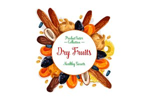 Vector poster of dried fruits and dry fruit snacks