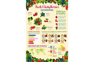 Vector infographics template for fresh berries