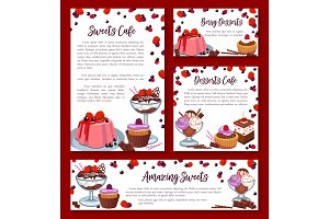 Vector templates for bakery shop cakes desserts