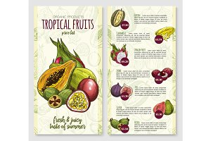 Vector price list for exotic fresh tropical fruits